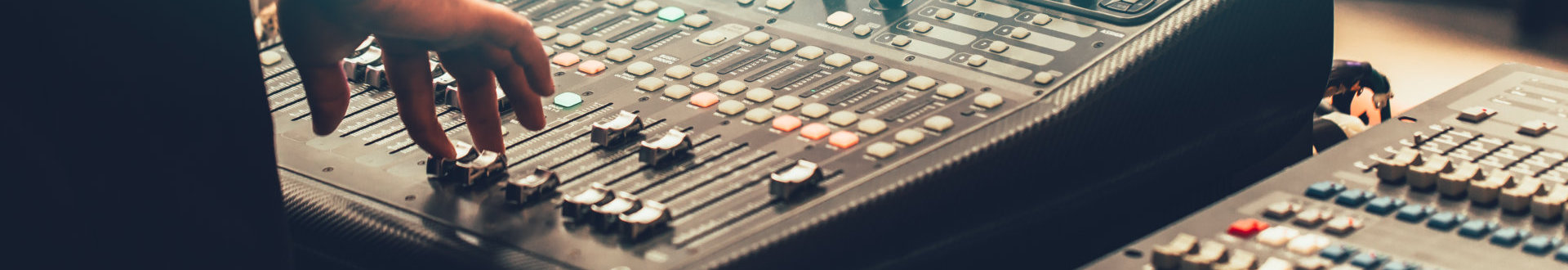 professional stage sound mixer closeup